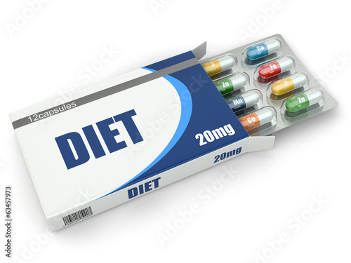 Diet concept. Vitamin pills in box.