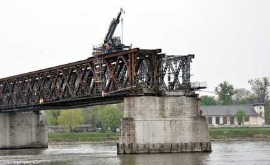 The old railway bridge and cranes