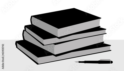Books & pen-vector