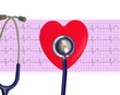 Heart analysis, electrocardiogram graph (ECG), red heart and Ste