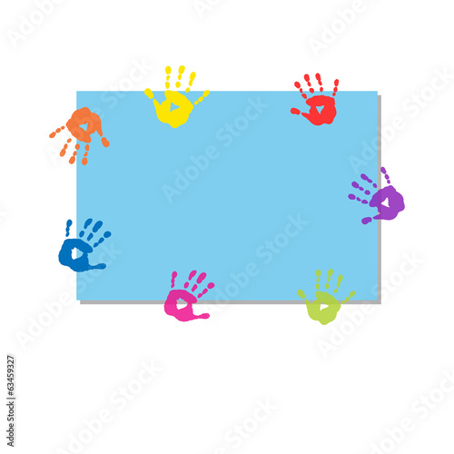 Background for text with prints of hands