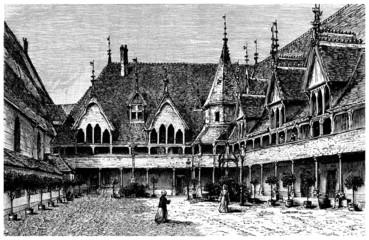 Beaune : Hospital (15th century) - view 19th century