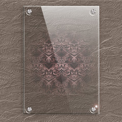 Glass plate on a leather background