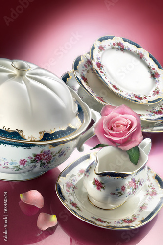 Porcelain dinner set with rose