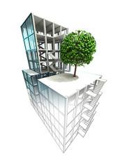 nature fliendly concept of architectural building plan