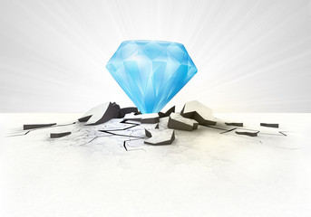 blue diamond stuck into ground with flare concept
