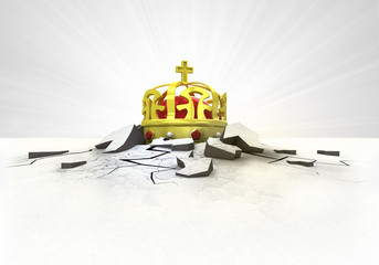royal crown stuck into ground with flare concept