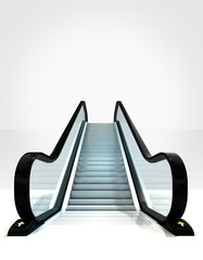 empty isolated escalator leading to upwards concept