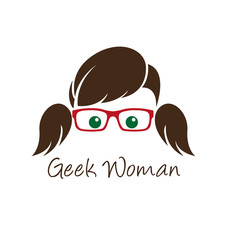 Geek woman logo template