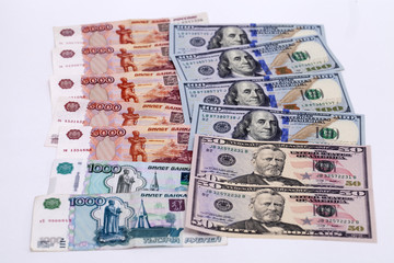 Currency exchange rate of the ruble against the dollar