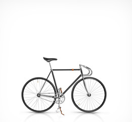 Classic fixed gear bicycle isolated on white