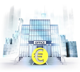 Euro coin in front of office building as city concept