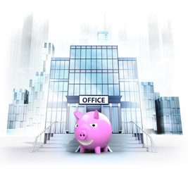 happy pig in front of office building as city concept