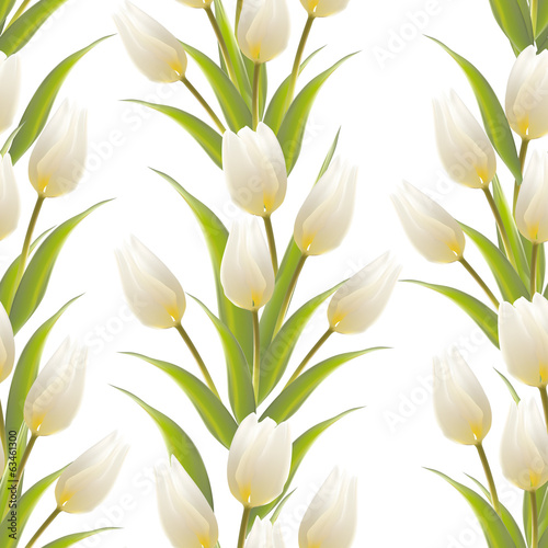 Tulip, floral background, seamless pattern.