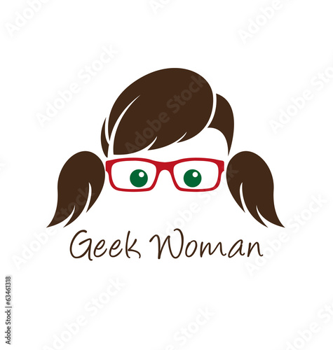 Geek woman logo template