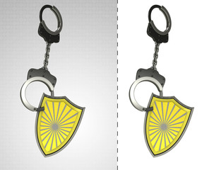 security shield in chain as criminality concept double