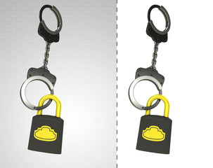 security padlock in chain as criminality concept double