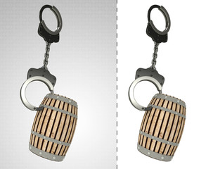 beverage keg in chain as criminality concept double