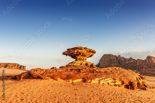Mushroom shaped rock formation in the desert of Wadi Rum.