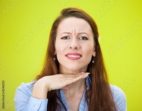 Angry, unhappy woman asking to stop, cut it out