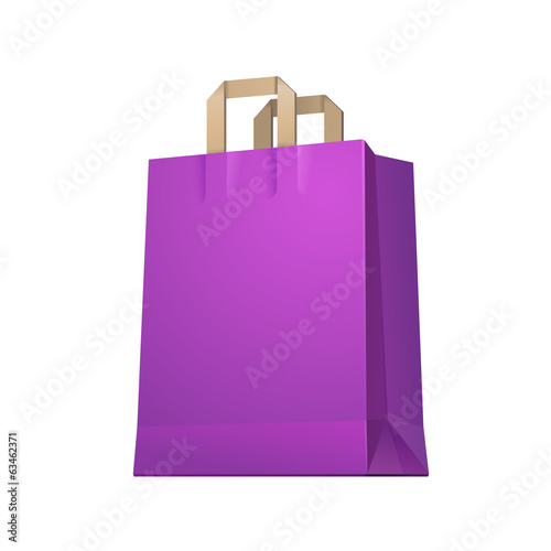 Carrier Shopping Paper Bag Purple Violet Empty