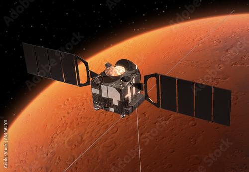 "Spacecraft  ""Mars Express"" Orbiting Planet Mars."