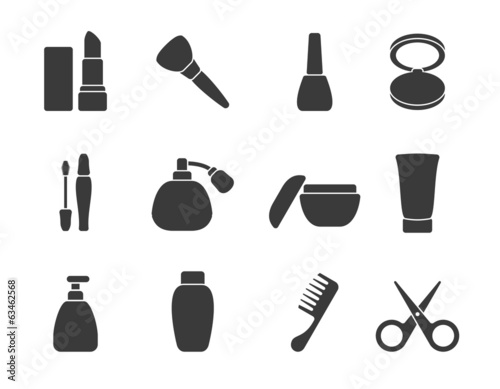Flat vector make-up & hair accessory icons