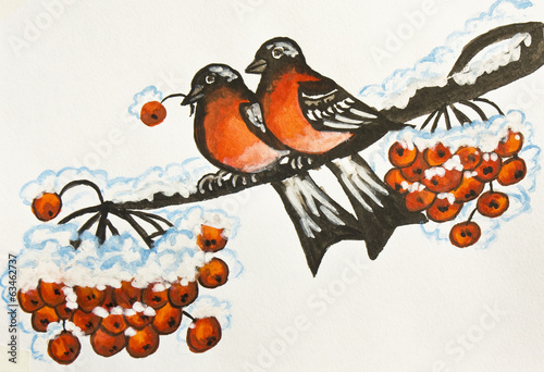 Two bullfinches, painting