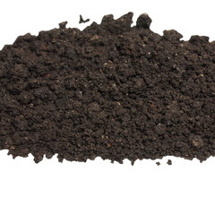 pile wet soil isolated on white background with clipping path