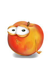 Sad orange peach cartoon, a depressed, disappointed character.