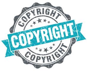 Copyright blue grunge retro style isolated seal