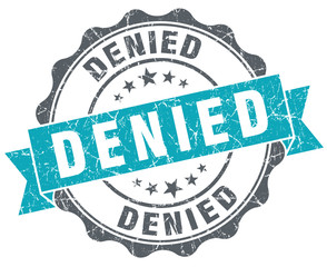 Denied blue grunge retro style isolated seal