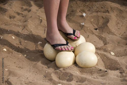 Fotobehang Struisvogel Woman standing on Ostrich eggs