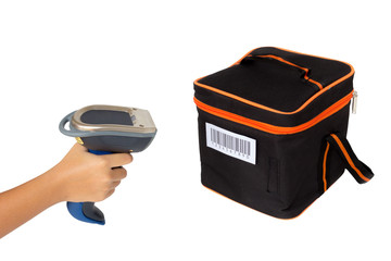 Hoding and scanning picnic box with barcode scanner over white b