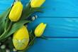 żółte tulipany z pisanką