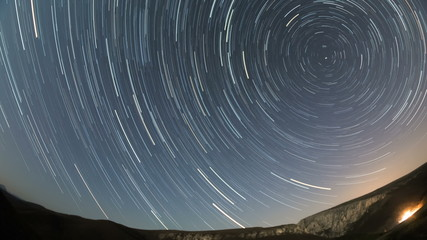 Star trails build up  around north star in Transylvania