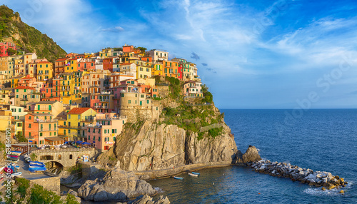 Bright colourful panorama of Manarola, Cinque terre.