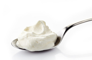 whipped cream in a spoon