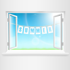 Summer Banner Hanging Out Of Window.