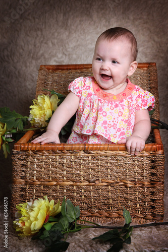 joyful little girl basket