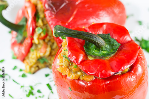 Red peppers stuffed with meat and rice