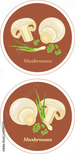 Mushrooms with parsley and chives. Icons for menu design