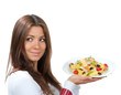 Waitress chef holding plate with italian lemon pappardelle