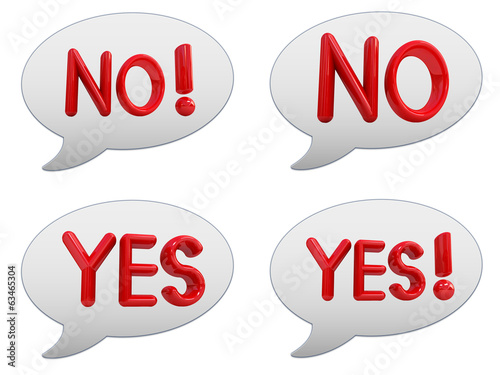 "Set of messenger window icon. 3d Red text "" YES"" and "" NO"""