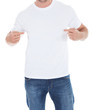 Man pointing at his blank white t-shirt