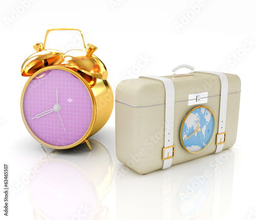 Suitcases for travel and clock