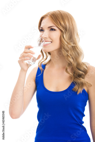 Woman with glass of water, isolated
