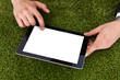 Businessman Using Digital Tablet On Grass