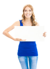 Woman showing blank signboard, on white