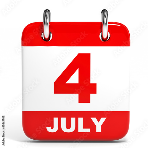 Calendar on white background. 4 July.